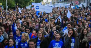 A section of the crowd  photographed at Wednesday's student protest, Merrion Square. Photograph: Gareth Chaney Collins