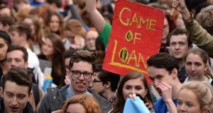 A section of the crowd at Wednesday's USI student protest at Merrion Square. Photograph: Dara Mac Dónaill/The Irish Times