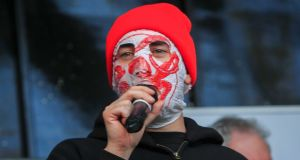 Blindboy Boatclub from the ruber bandits at the protest in Merrion Square, Dublin. Photograph: Gareth Chaney/Collins