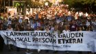 "People march behind a banner reading ""Gravely ill Basque Prisoners Home"" during a demonstration in San Sebastian on October 15th in support of the release of chronically and terminally ill Eta prisoners. Photograph: Vincent West/Reuters"