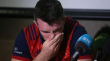 Munster captain Peter O'Mahony becomes emotional during the press conference at the  University of Limerick. Photograph: Niall Carson/PA