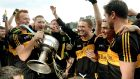 Dr Crokes captain Johnny Buckley and Man of the Match Colm Gooch Cooper celebrate winning the Kerry County Championship at Fitzgerald Stadium, Killarney. Photo Don MacMonagle