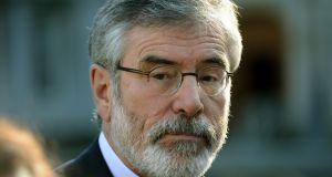 Sinn Féin leader  Gerry Adams received a US visa in the mid-1990s during the Northern Irish peace process. Photograph:  Dara Mac Dónaill