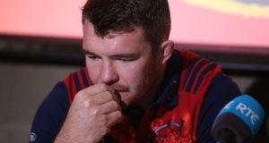 Munster captain Peter O'Mahony before the media at the University of Limerick. Photograph: Niall Carson/PA Wire