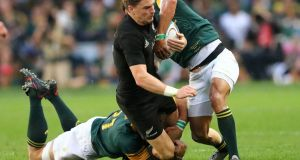 All Blacks fly-half Beauden Barrett in action during the 57-15 demolition of South Africa at the Kingspark  Stadium in Durban. Photograph: Anesh Debikyanesh/AFP/Getty