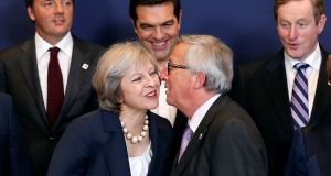 EU SUMMIT: European Commission president Jean-Claude Juncker kisses Britain's prime minister Theresa May during a summit in Brussels, Belgium. Photograph: Francois Lenoir/Reuters