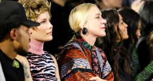 Halsey and Chloe Sevigny  wearing Kenzo x H&M, at the Kenzo x H&M fashion show in New York. Photograph: BFA/H&M