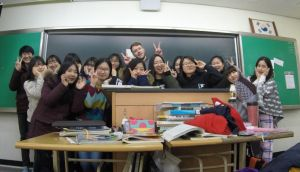 Ciaran Maguire with his students at a foreign language school in Daegu