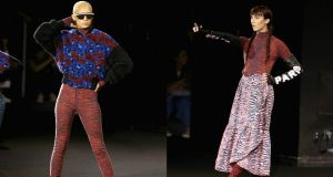 Two designs from the Kenzo x H&M collection, which was launched in New York. Photographs: Thomas Concordia/Getty Images for H&M