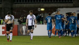 Dundalk's Robbie Benson  and Ronan Finn after Giuliano's winner for Zenit at Tallaght. Photograph: PA