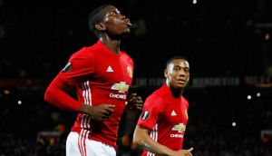 Paul Pogba scored twice as Manchester United routed Fenerbahçe 4-1 at Old Trafford. Photograph: Reuters