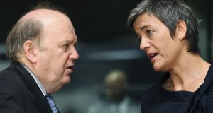 Minister for Finance Michael Noonan with EU competition commissioner Margrethe Vestager at a European Union finance ministers' meeting in Luxembourg in 2012. Photograph: Francois Lenoir/Reuters