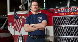 Rob Walsh is a captain at the Inman Square fire department in Cambridge, Massachusetts. Photograph: Kael Alford/Panos Pictures