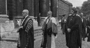 "The novelist can  probe in a way the biographer can't, something envied by historian Sheila Fitzpatrick who, in her review of Julian Barnes's fictional account of Dmitri Shostakovich (pictured here receiving an honorary degree in Trinity College Dublin in 1972), The Noise of Time, wrote: ""How I would have liked to invent a few interior monologues in my recent book."" As a historian, she lamented, you can ""only quote texts that can be footnoted"""