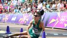 Ireland's Robert Heffernan after crossing the finish line of the London 2012 Olympic Games Men's 50km race walk. Photograph: Getty Images
