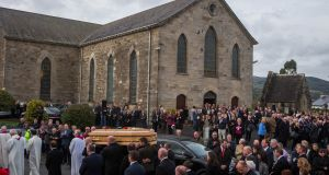 The coffin of Munster head coach Anthony Foley leaves St Flannan's Church, Killaloe, Co Clare. Photograph: Ryan Byrne/Inpho