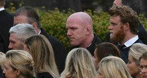 Former Munster and Ireland rugby player Paul O'Connell arrives for the funeral service. Photograph: Clodagh Kilcoyne/Reuters