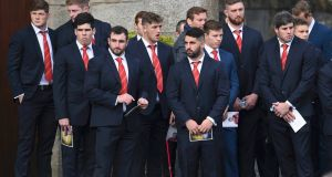 Members of the Munster rugby team attend the funeral service. Photograph:  Clodagh Kilcoyne/Reuters