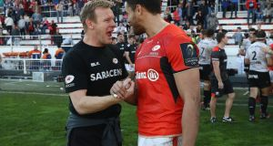 Mark McCall,  Saracens director of rugby, celebrates with Sean Maitland after their victory over RC Toulon  at Stade Felix Mayol in Toulon last weekend. Photograph:  David Rogers/Getty Images