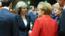 British prime minister Theresa May (left) at the European Summit in Brussels: she believes the 27 remaining EU states have as much to lose as the UK from its exit. Photograph: Olivier Hoslet/EPA