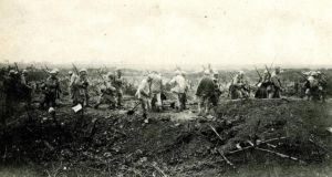 Battle of the Somme: soldiers at the trenches at Dompierre Becquincourt. Photograph from the Royal Dublin Fusiliers Collection held at Dublin City Archives