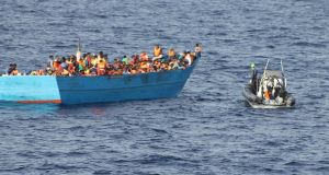 The Irish Naval Service vessel located and rescued the migrants from the barge  northeast of the Libyan capital.