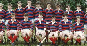 Anthony Foley was an all-rounder on the playing fields and also lined out for St Munchin's College hurling team. He is second from right in the front row. Photograph courtesy of St Munchin's College