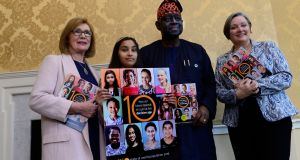 "Labour TD Jan O Sullivan, Hannah Ghafoor-Butt, UNFPA director Dr Babatunde Osotimehin  and Minister of State  Marcella Corcoran Kennedy at  launch of ""State of the World Population"" report for 2016. Photograph: Cyril Byrne"