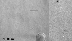 Image taken by Nasa's Mars Reconnaissance Orbiter of the suspected landing area of the Schiaparelli spacecraft on Mars. Photograph: JPL-CALTECH/MSSS/Nasa/EPA