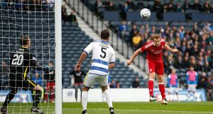 Aberdeen's Adam Rooney (right) scores his side's first goal of the game  at Hampden Park. Photo: Jane Barlow/PA Wire.