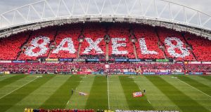 A minutes silence is observed in memory of Anthony Foley before the European Champions Cup, Pool One match at Thomond Park. Photo: Inpho