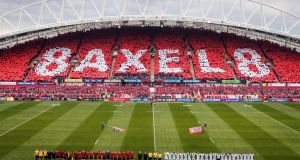 A view of Thomond Park as the two teams stand for a minutes silence. Photo: Ryan Byrne/Inpho