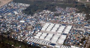 An aerial view shows the Calais Jungle. Photograph: Pascal Rossignol/Reuters