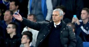"José Mourinho gestures on from the touchline during the match at Stamford Bridge. He said: ""We made an incredible defensive mistake.""  Photograph: Nick Potts/PA Wire"