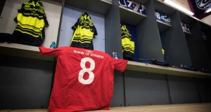The Leinster changing room before the match against Montpellier yesterday  with the Munster number eight jersey in tribute to the late Munster head coach Anthony Foley. Photograph: Billy Stickland/Inpho