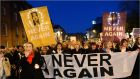Thousands gather to demand that  the circumstances that led  to the  death of Savita Halappanavar are not repeated, at a rally in Dublin in late 2012. File photograph: Dara Mac Dónaill/The Irish Times