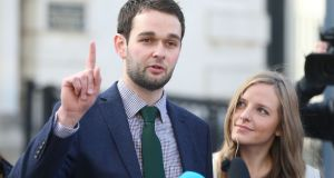 Daniel and Amy McArthur of Ashers Baking speak to the media outside Belfast High Court after losing their appeal against the ruling that they had discriminated against Gareth Lee. Photograph: Niall Carson/PA Wire