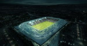 The proposed design for a re-developed Casement Park, as unveiled today by Ulster GAA. Photo: Ulster GAA