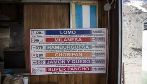 A store sign at  a border crossing between Chile and Argentina. Photograph: NurPhoto/Getty Images
