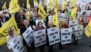 A recent ASTI protest outside Leinster House: all ASTI members will forfeit a day's pay while the strike takes place. Photograph: Eric Luke / The Irish Times