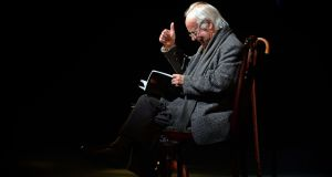 Poet Brendan Kennelly on stage at the Abbey Theatre, at an event to celebrate his  80th birthday. Photograph: Eric Luke/The Irish Times
