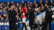 Eric Bailly is facing two months out after injuring his knee during Manchester United's 4-0 thrashing at Stamford Bridge. Photograph: Reuters