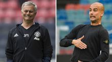 Jose Mourinho and Pep Guardiola: the United manager appears to have lost some of his love for football while the City coach is getting dourer by the day. Photograph: Getty Images