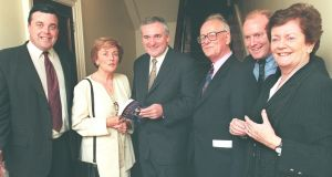 Ann Lenihan (second left) in October 1998 with, from left, her son Brian Lenihan (later minister for finance, since deceased);  then taoiseach Bertie  Ahern, late  journalist  James Downey;   her son Conor Lenihan (later a junior minister) and  sister-in-law Mary O'Rourke.  File photograph: Frank Miller/The Irish Times