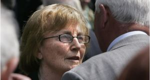 Ann Lenihan at the funeral in 2011 of her son Brian Lenihan, formerly  minister for finance,  at St Mochta's Chrch, Porterstown, Dublin. Photograph: Dara Mac Dónaill/The Irish Times