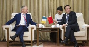 Minister for Education Richard Bruton meets with the Chinese vice-minister of education, Hao Ping.