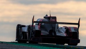 The #8 Audi R18 e-tron quattro of Lucas di Grassi (Brazil), Loic Doval (France) and Oliver Jarvis (Great Britain) races on the track during the 24 hours of Le Mans on June 18th, 2016. Photograph: Brian Cleary/Getty Images