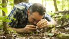 "Author David Haskell observes the ""mandala"" on the forest floor with a hand lens. Photograph: Buck Butler"