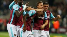 Edimilson Fernandes celebrates scoring West Ham's second goal at The London Stadium. Photograph: Getty Images