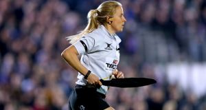 Touch Judge Joy Neville during the Challenge Cup clash between Bath and Bristol. Photo: Inpho